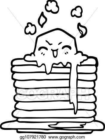 Butter face clipart transparent library Vector Clipart - Black and white cartoon butter melting on pancakes ... transparent library