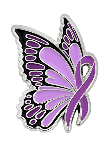 Butterflies clipart with purple ribbons svg freeuse download PinMart Domestic Violence Awareness Butterfly Purple Ribbon Enamel Lapel Pin svg freeuse download