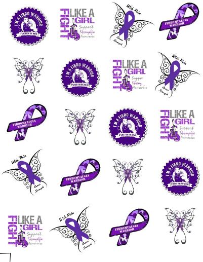 Butterflies clipart with purple ribbons jpg download Fibromyalgia Awareness Ribbon Waterslide Nail Decals jpg download