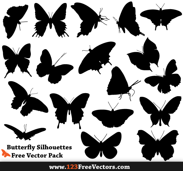 Butterflies silhouette clipart free image library Free Butterfly Silhouette Vector Pack image library