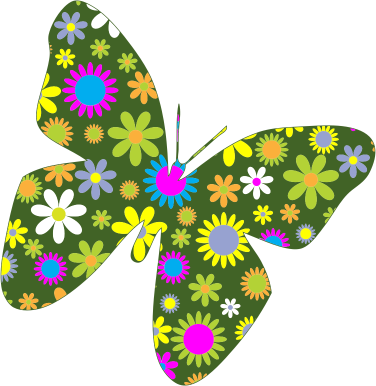 Butterfly and flower clipart jpg transparent library Clipart - Retro Floral Butterfly jpg transparent library