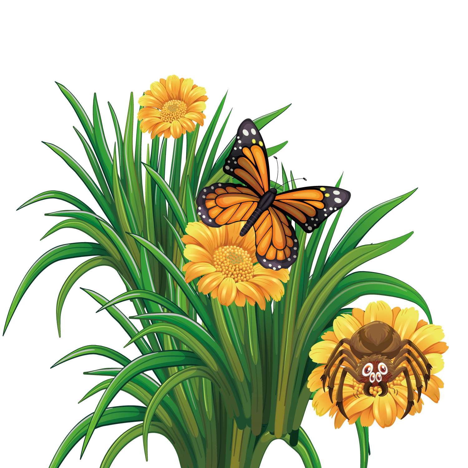 Butterfly and flower clipart freeuse stock Monarch butterfly Flower - Vector summer flowers 1500*1500 ... freeuse stock