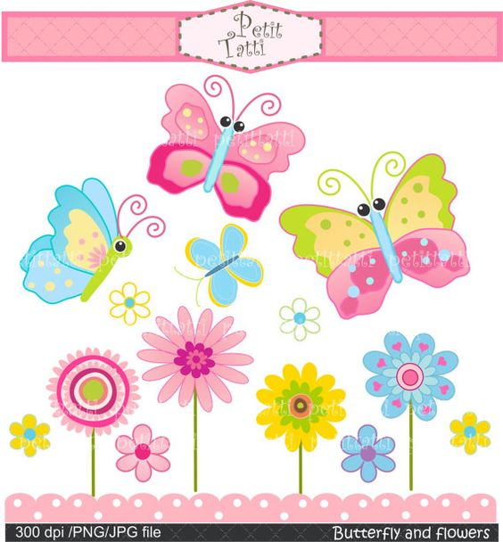 Butterfly and flowers clipart clip art free Butterfly and flowers Digital clip art - pink, blue, green ... clip art free