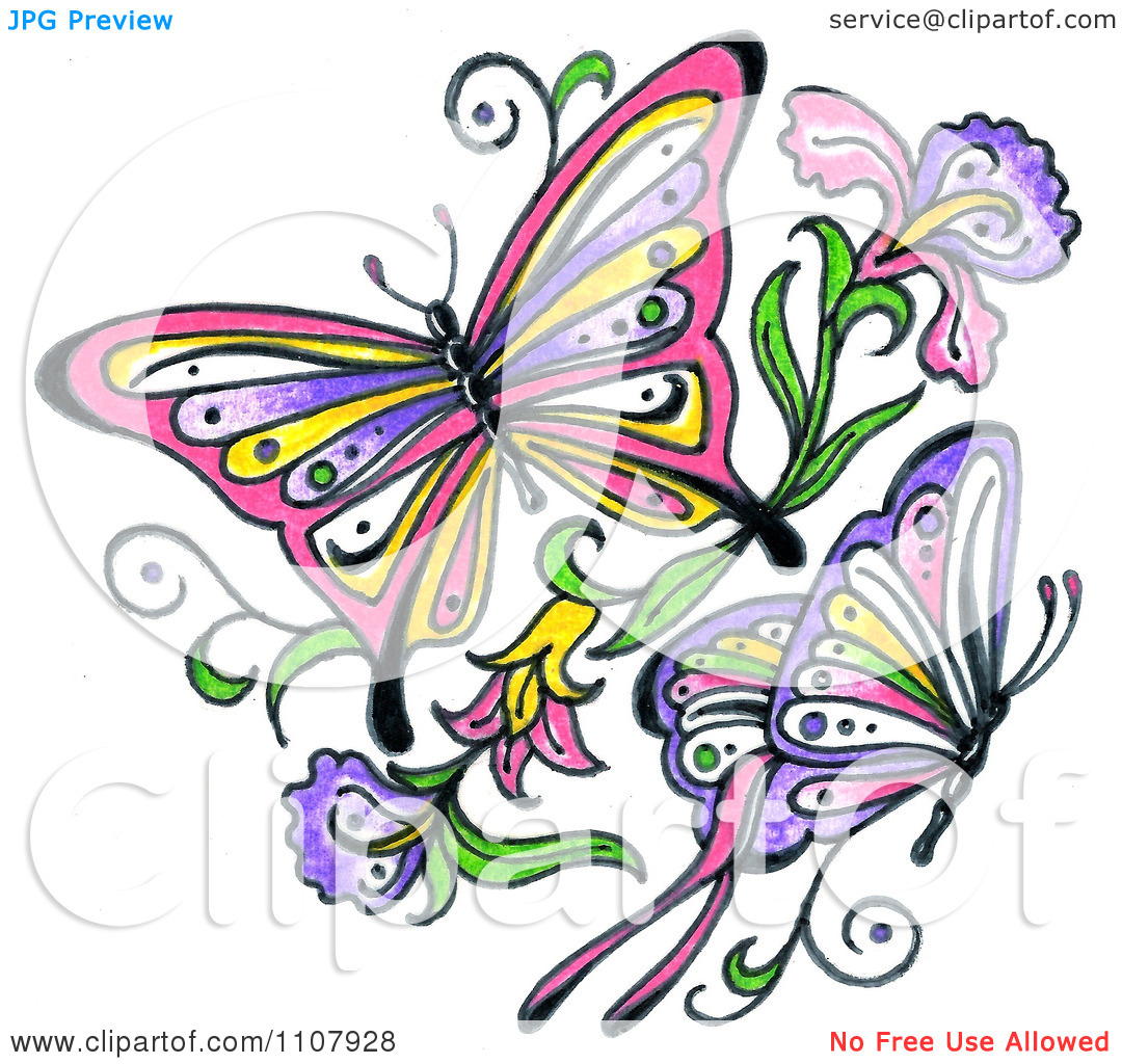 Butterfly and flowers clipart png black and white library Free butterfly and flower clipart - ClipartFest png black and white library