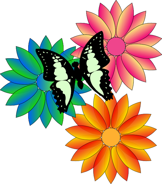 Summer flower clipart vector transparent stock Butterfly And Flowers Clip Art at Clker.com - vector clip art ... vector transparent stock
