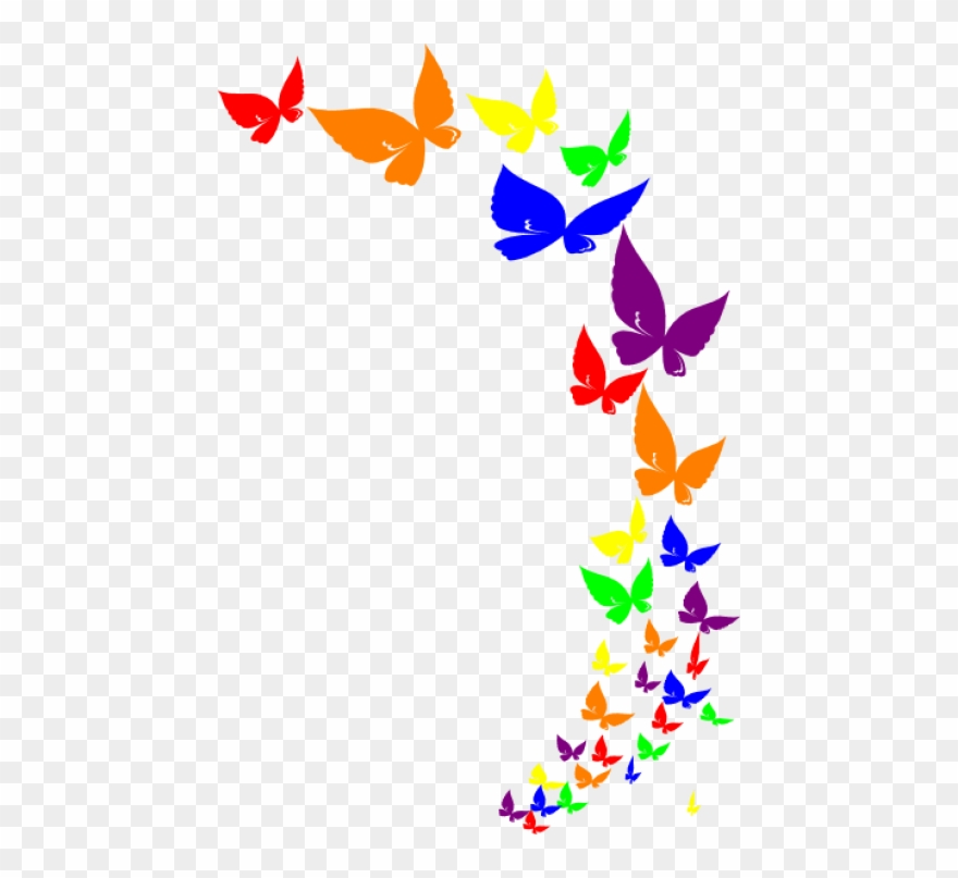 Butterfly borders clipart image transparent library Free Png Rainbow Butterfly - Butterfly Border Clipart Png ... image transparent library