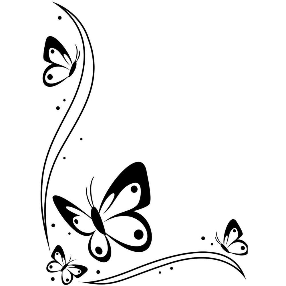 Butterfly clipart design card png library stock Butterfly Border Black And White Clipart | Cards: Backgrounds ... png library stock