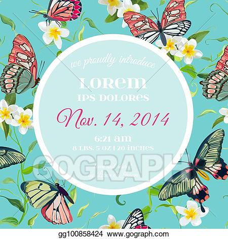 Butterfly clipart design card jpg free stock Vector Art - Wedding invitation template tropical design with exotic ... jpg free stock