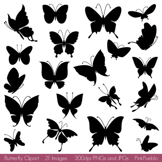 Butterfly clipart for commercial use picture black and white stock Butterfly Silhouettes Clipart Clip Art, Butterfly Clipart Clip Art ... picture black and white stock