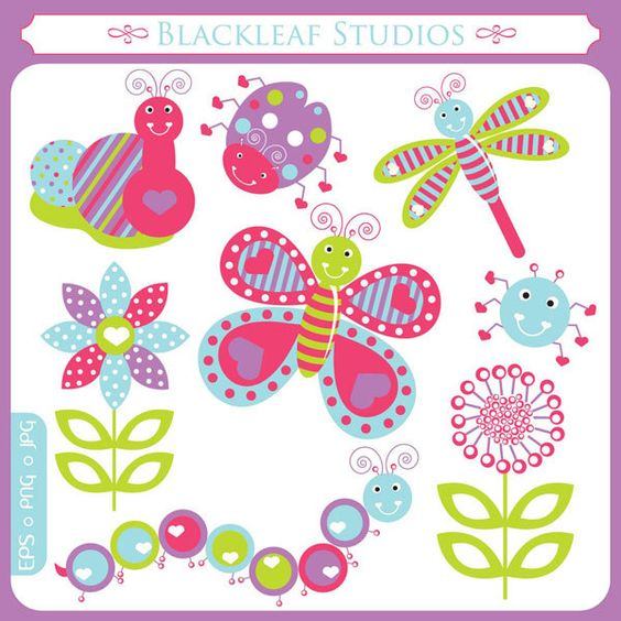 Butterfly clipart for commercial use picture royalty free library Garden Love Bugs Butterfly Clipart Set Digital Download Images ... picture royalty free library