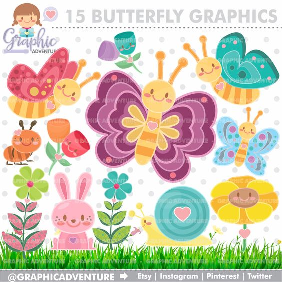 Butterfly clipart for commercial use jpg black and white library Butterfly Clipart, Butterfly Graphics, COMMERCIAL USE, Kawaii ... jpg black and white library