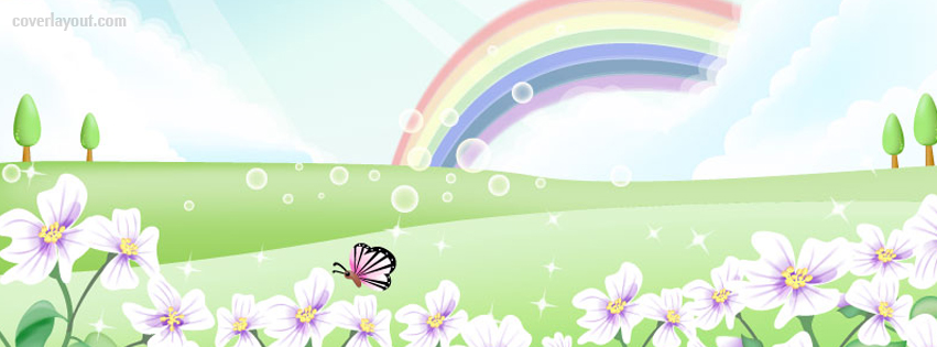 Butterfly clipart for facebook cover jpg free Happy Rainbow Bubbles Butterfly Flowers Facebook Cover, Happy ... jpg free