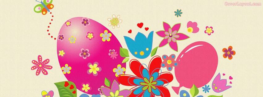 Butterfly clipart for facebook cover clipart royalty free download Colorful Spring Easter Egg Flowers and Butterfly Facebook Cover ... clipart royalty free download