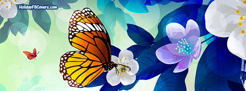 Butterfly clipart for facebook cover clipart black and white download Spring Butterfly Water Color Flowers Facebook Cover, Spring ... clipart black and white download