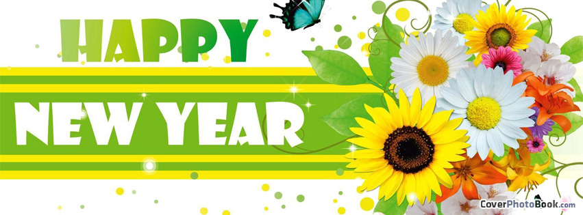 Butterfly clipart for facebook cover svg library Happy New Year Flowers Butterfly Facebook Cover - Holidays svg library
