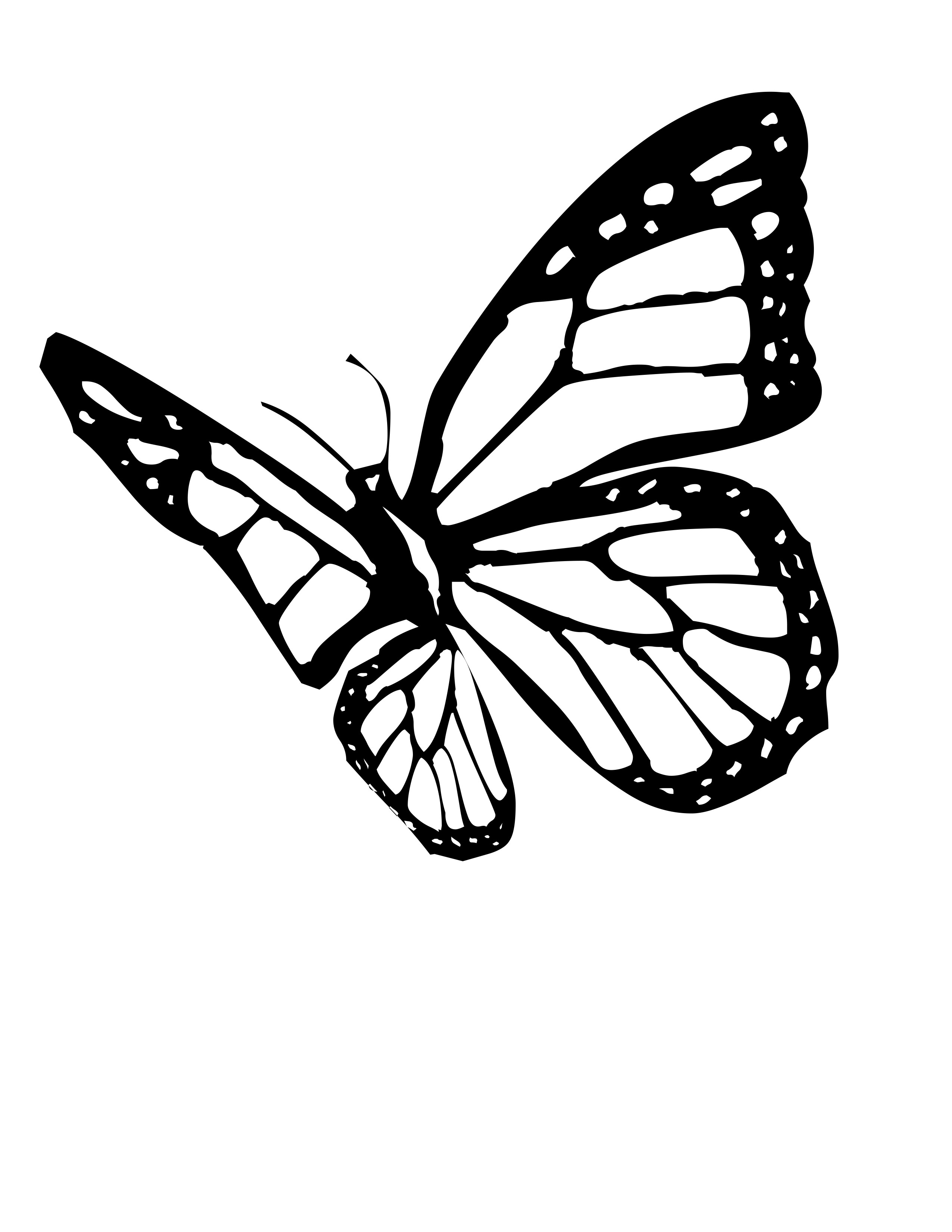 Butterfly flying clipart black and white clip art library Butterfly Clipart Black And White | Free download best Butterfly ... clip art library