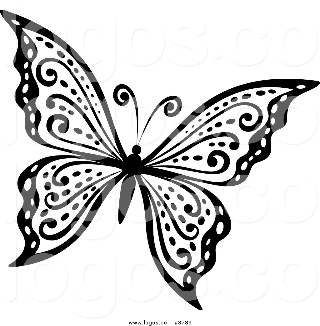 Butterfly flying clipart black and white svg library download Royalty Free Clip Art Vector Logo of a Black and White Butterfly ... svg library download