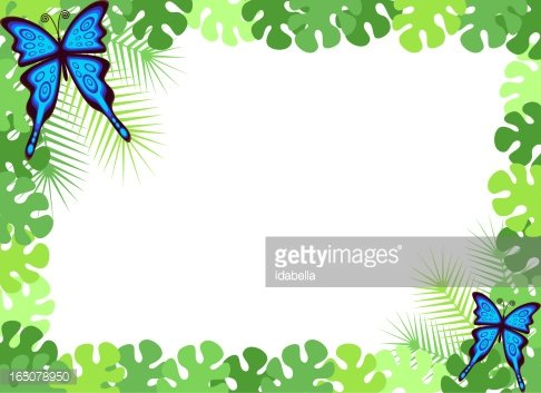Butterfly frame clipart royalty free Tropical Forest Butterfly Frame premium clipart - ClipartLogo.com royalty free