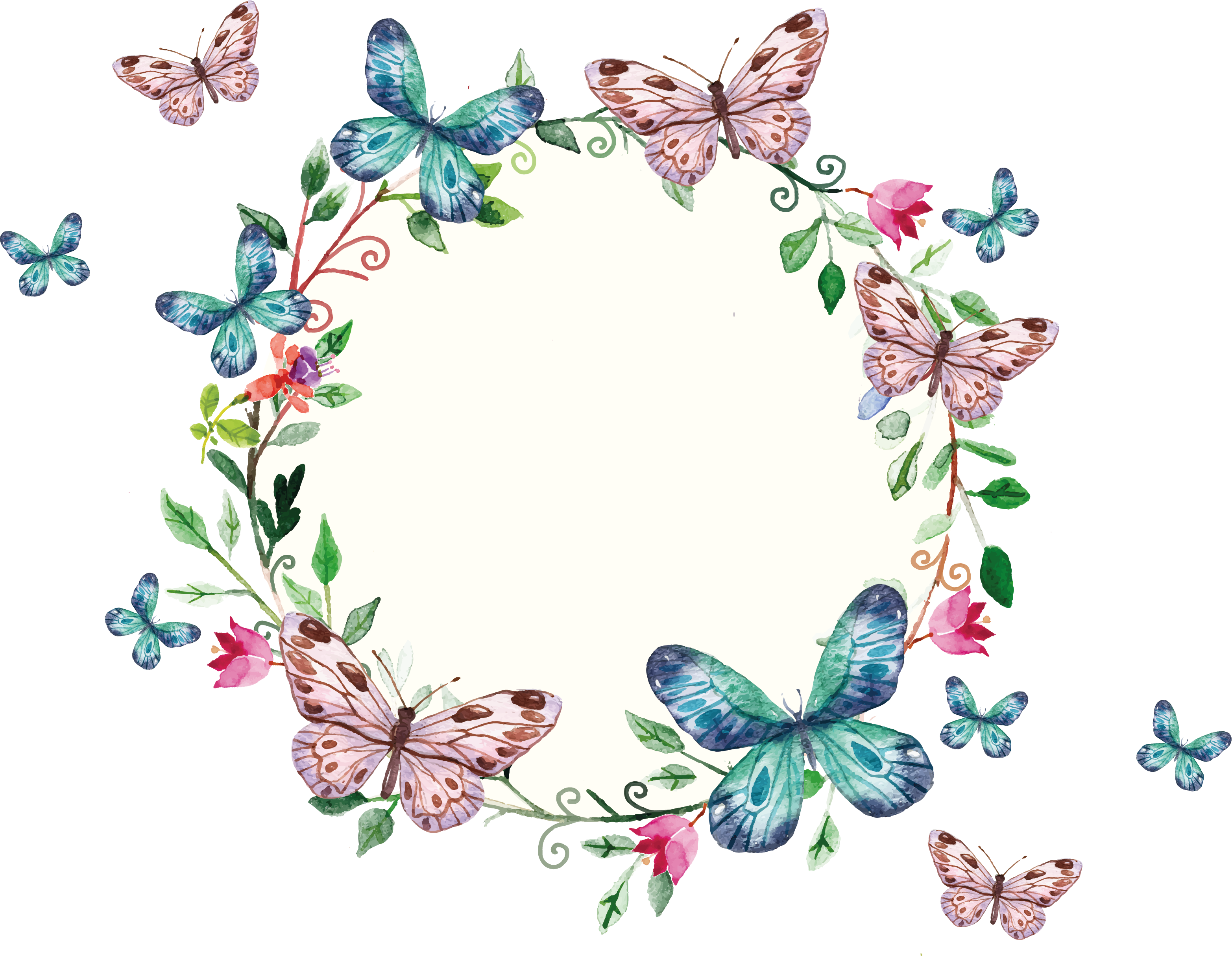 Butterfly frame clipart jpg stock freepi.com / floral wreath and butterflies frame | CLIPART AND ... jpg stock