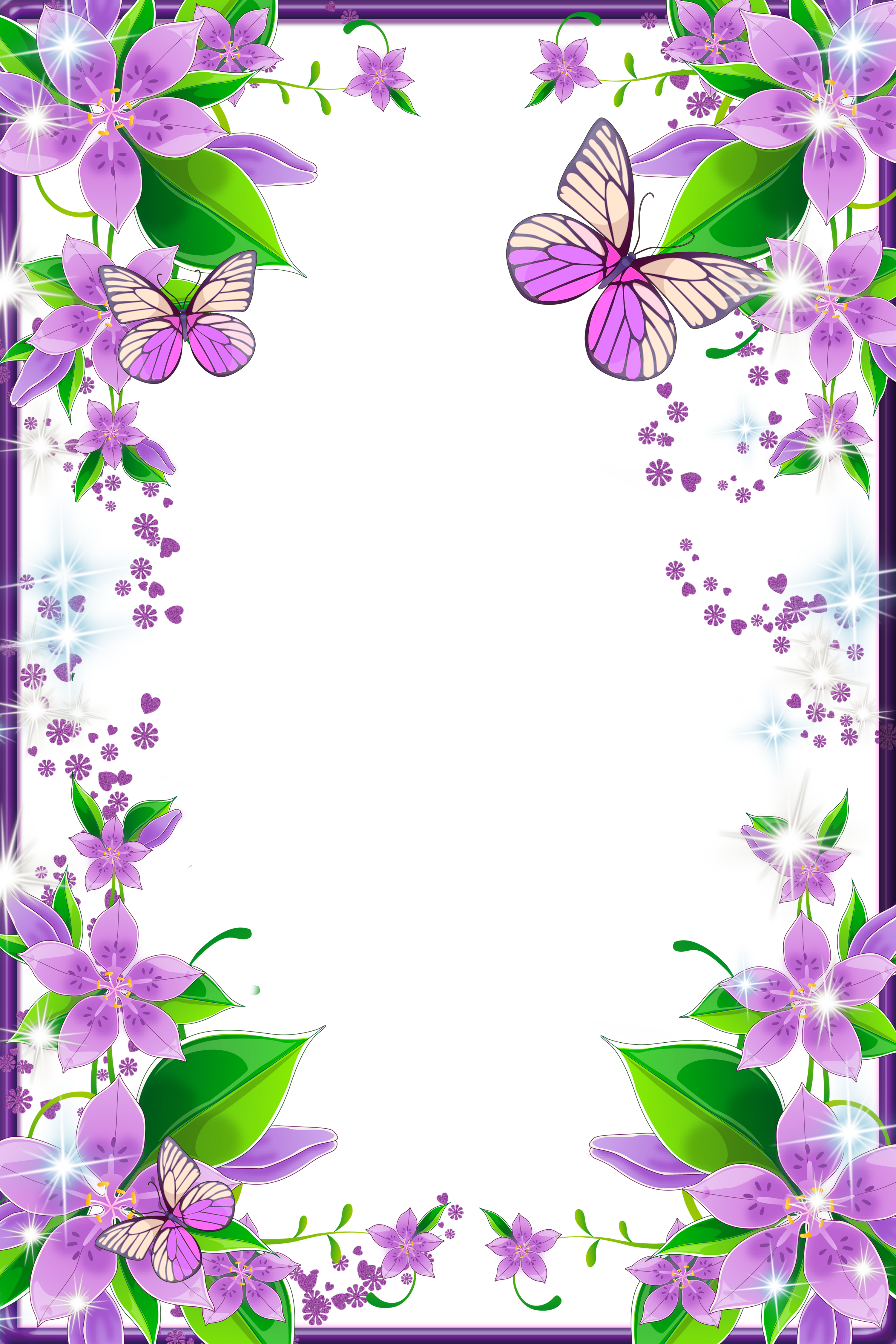 Butterfly frame clipart graphic download Light Purple Flowers and Butterflies Transparent PNG Photo Frame ... graphic download