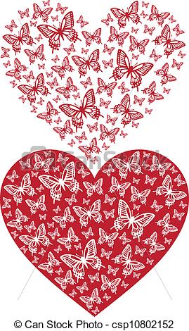 Butterfly hearts clipart vector royalty free Clipart Vector of red butterfly heart, vector background ... vector royalty free