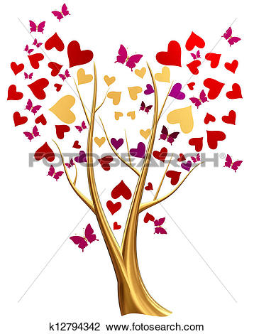 Butterfly hearts clipart picture library Drawing of golden tree with hearts and flowers k12794363 - Search ... picture library