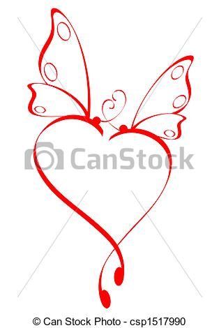 Butterfly hearts clipart picture black and white library Stock Illustration of Butterfly heart csp1517990 - Search Clipart ... picture black and white library