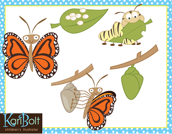Butterfly life cycle clipart clip royalty free download Butterfly Life Cycle Free Clip Art by Kari Bolt Clip Art ... clip royalty free download