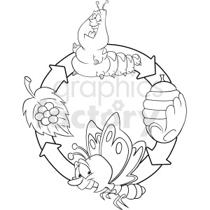 Butterfly life cycle clipart black and white image stock black and white life cycle of caterpillar chrysalis to butterfly clipart.  Royalty-free clipart # 409275 image stock