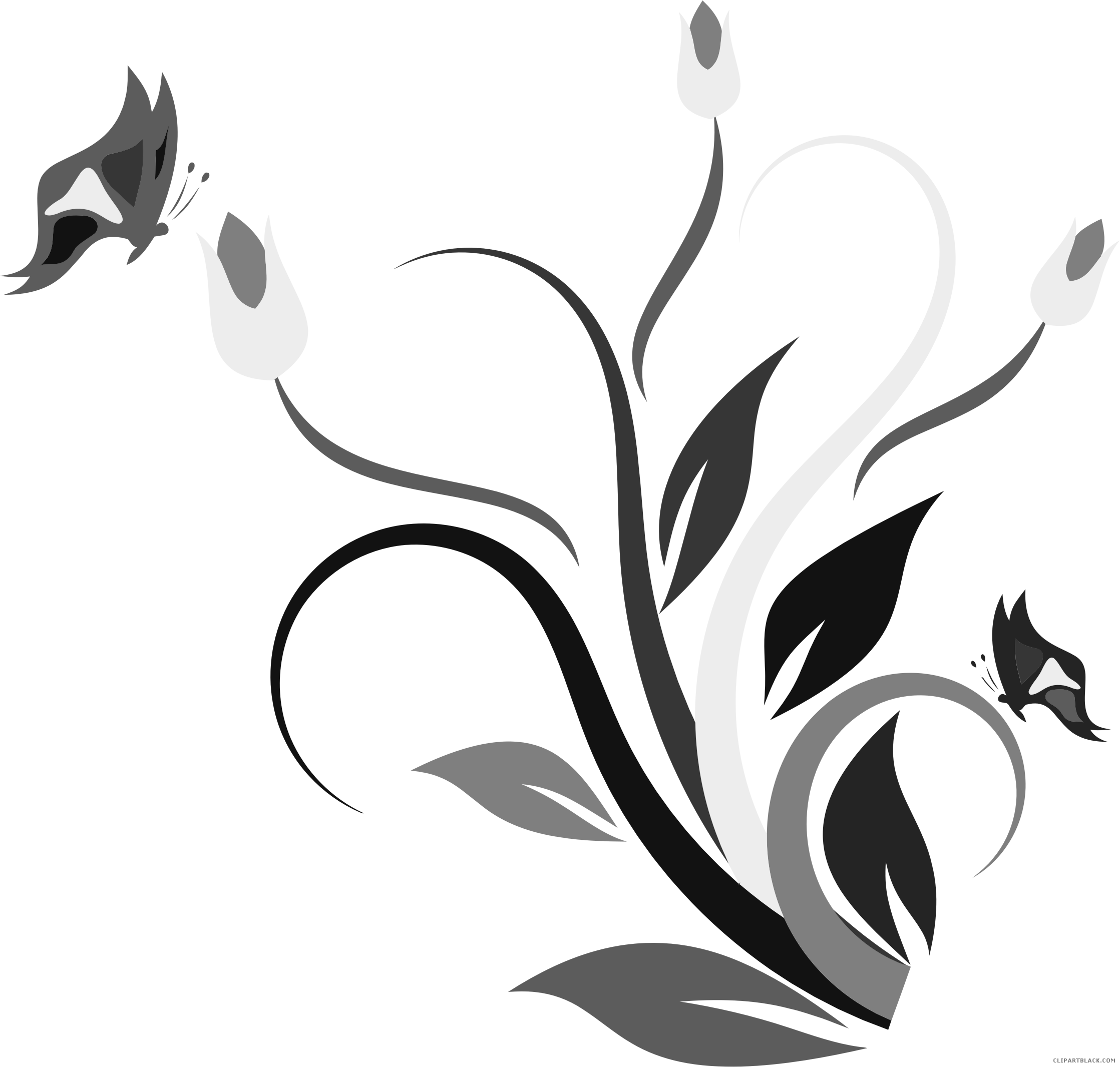 Butterfly on flower clipart picture black and white library Butterfly Flower Clipart - ClipartBlack.com picture black and white library