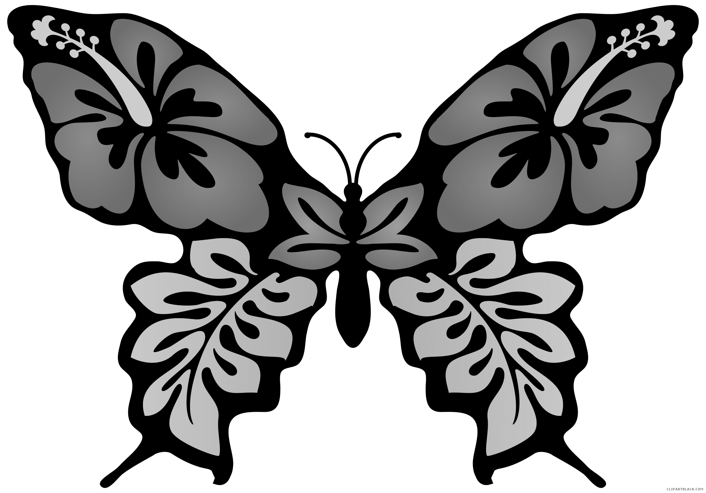 Butterfly on flower clipart black and white royalty free Butterfly Flower Clipart - ClipartBlack.com royalty free