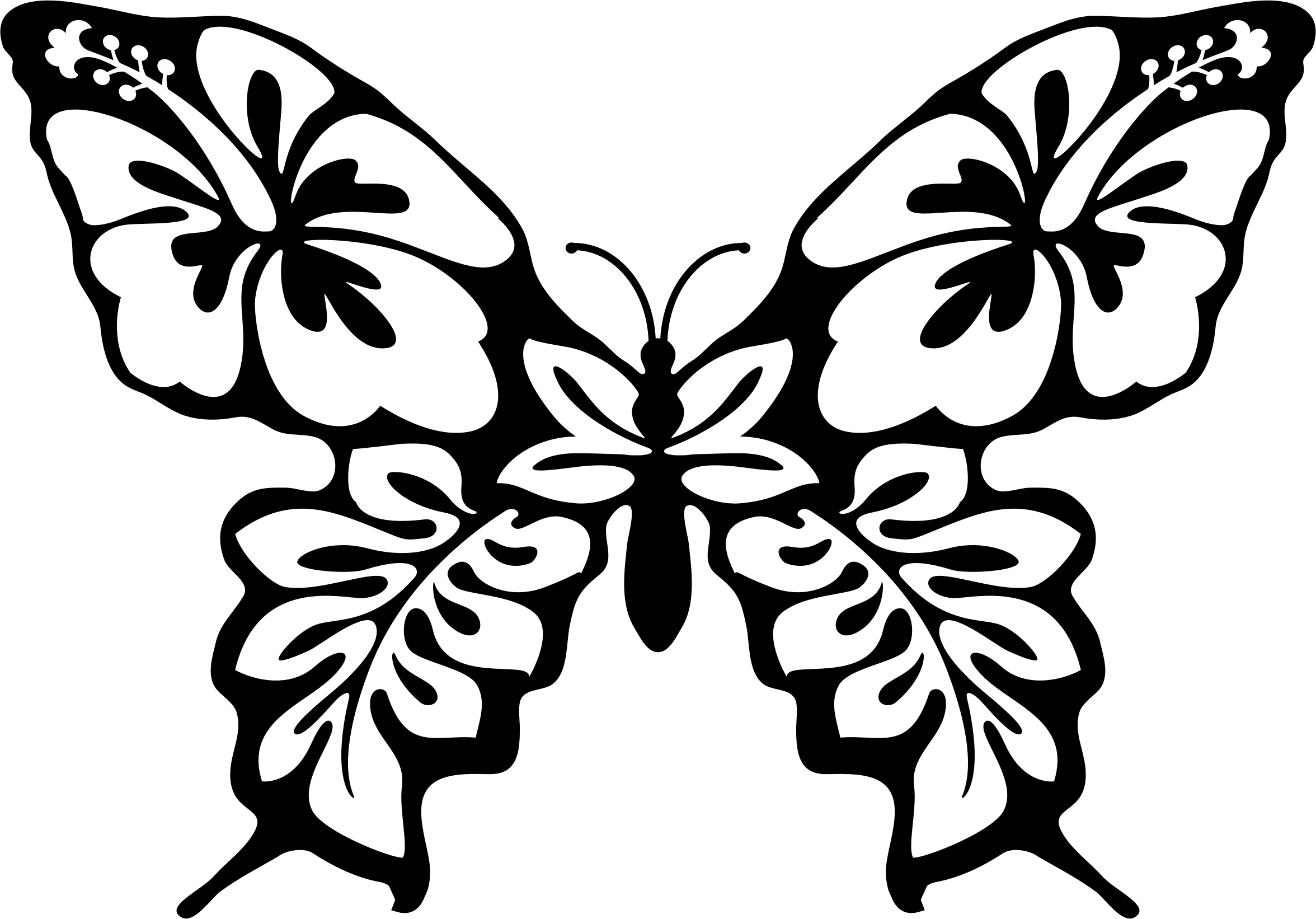 Funny flower clipart graphic library download Clipart - Butterfly Flower Line Art graphic library download