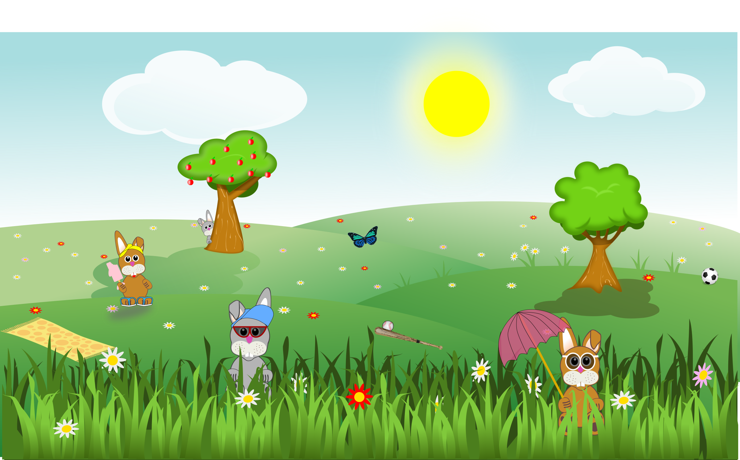 Butterfly tree clipart picture transparent Clipart - Summer green and sunny landscape with bunnies, trees ... picture transparent