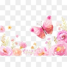 Butterfly with flowereswatercolor clipart