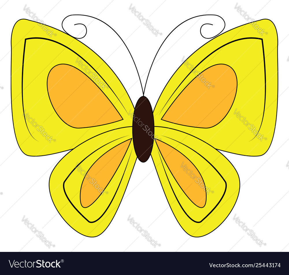 Butterfly yellow clipart vector free stock Clipart a yellow-colored butterfly or color vector free stock