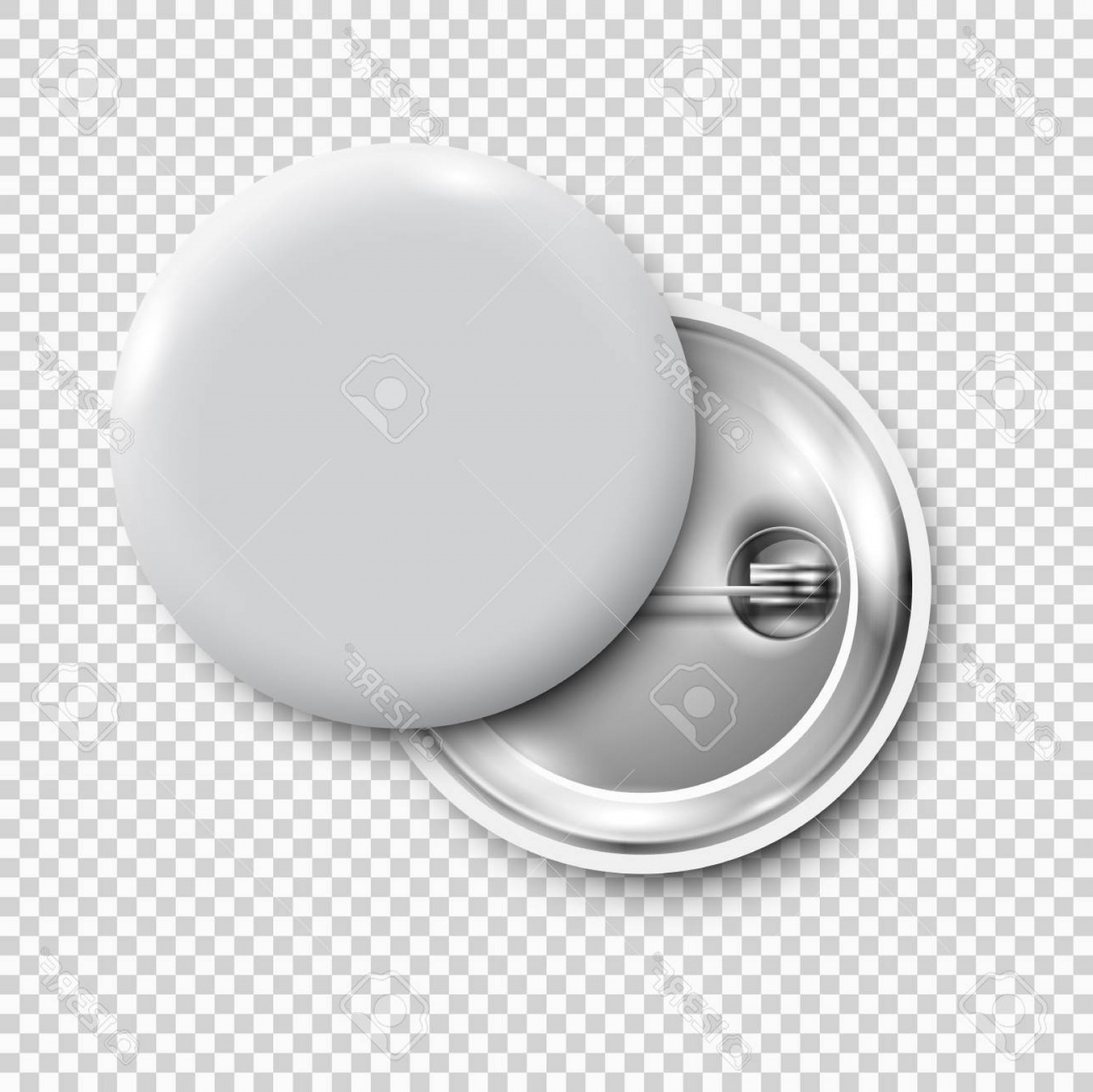 Button pins clipart image black and white library Photostock Vector White D Blank Badge Round Button Pin Button ... image black and white library