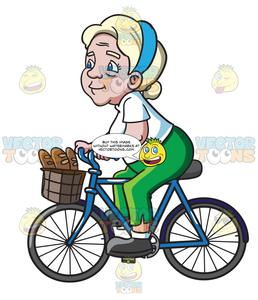 Buy and ride clipart jpg freeuse download A Female Senior Citizen Rides A Bike To Buy Some Baguettes jpg freeuse download