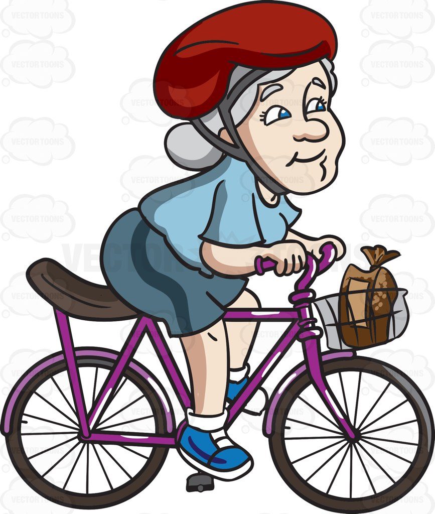 Buy and ride clipart graphic royalty free A female senior citizen riding a bike to buy some bread » Clipart ... graphic royalty free