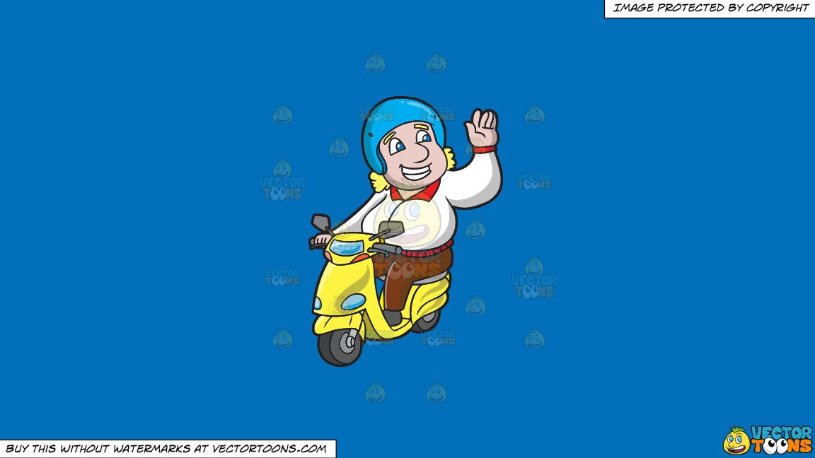 Buy and ride clipart png transparent download Clipart: A Friendly Man Going For A Ride In His Scooter on a Solid Spanish  Blue 016Fb9 Background png transparent download