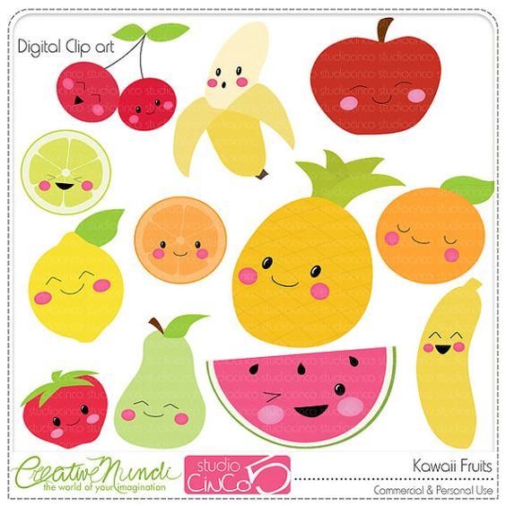 Buy clipart for commercial use graphic freeuse library Buy 2 get 1 FREE - Kawaii Fruits - Digital Clip Art , Commercial ... graphic freeuse library