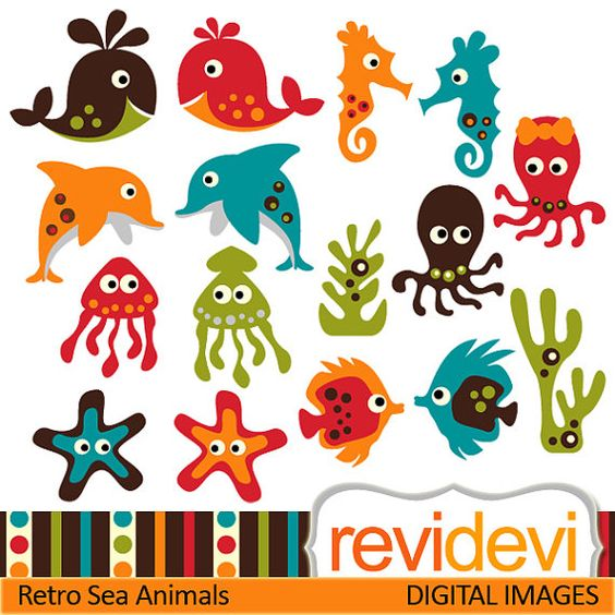 Buy clipart for commercial use jpg black and white library Buy 5 get 5 free.. Retro Sea Animals 07376.. Commercial use ... jpg black and white library