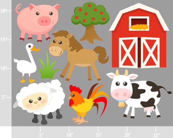 Cute farm animals digital. Buy clipart for commercial use