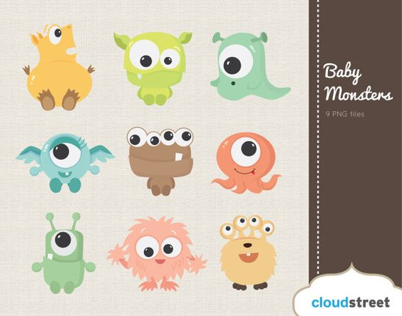 Buy clipart for commercial use banner black and white stock buy 2 get 1 free Cute Baby Monsters Clipart for Personal and ... banner black and white stock
