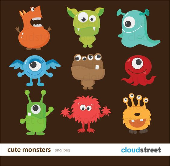 Buy clipart for commercial use png black and white stock Cute Monsters Clipart for Personal and Commercial Use ( cute ... png black and white stock