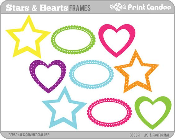 Buying clipart for commercial use. Stars and hearts frames