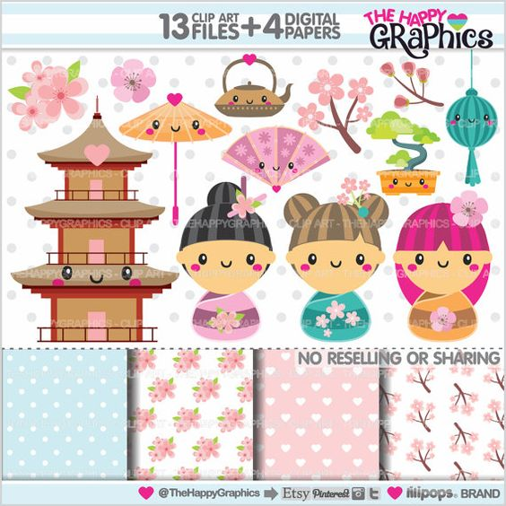 Buying clipart for commercial use svg Kokeshi Dolls Clipart, Japanese Clipart, COMMERCIAL USE, Kawaii ... svg
