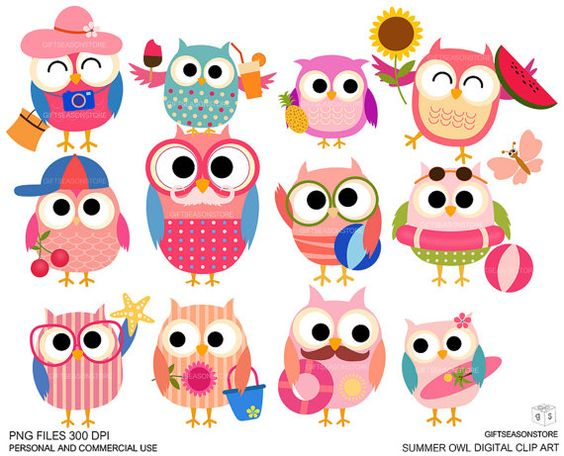 Buying clipart for commercial use vector free Summer owls Digital clip art for Personal and Commercial use ... vector free