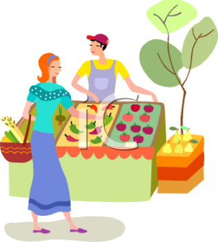 Buying fruits cliparts clipart Woman Buying Produce at an Outdoor Market | Making a shop! | Art ... clipart
