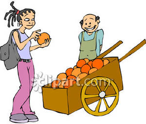 Buying fruits cliparts picture download Girl Buying Grapefruit - Royalty Free Clipart Picture picture download