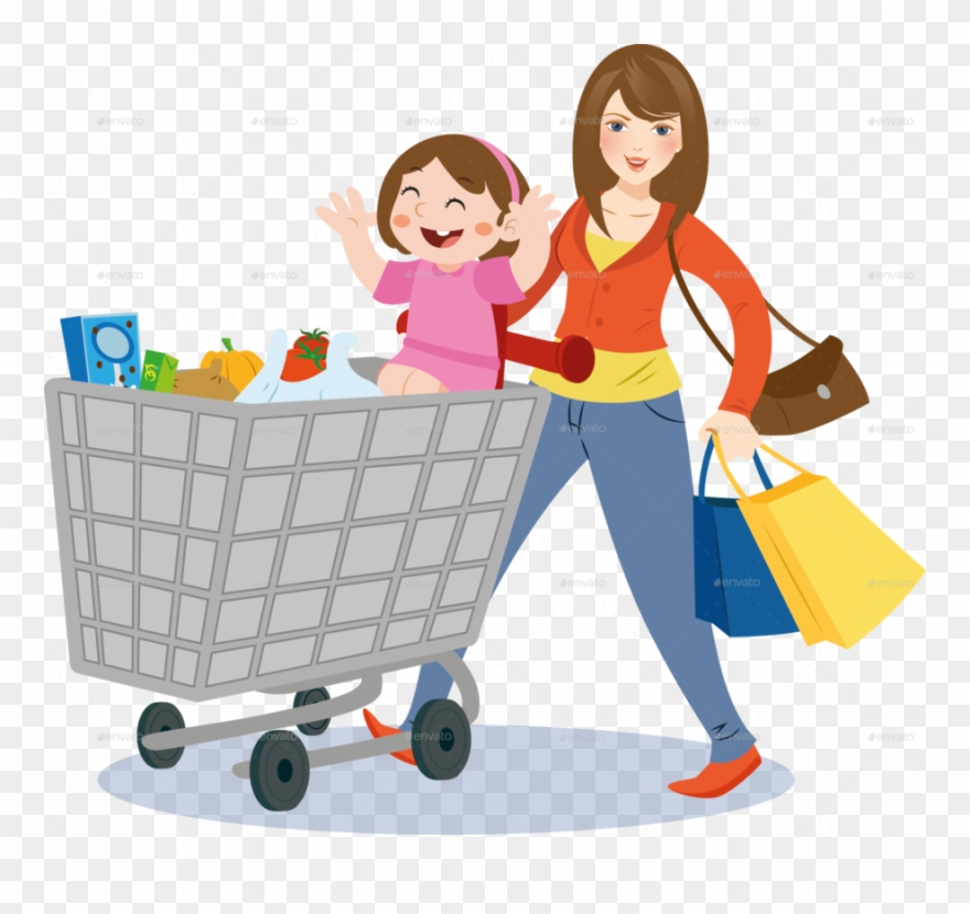 Shoppinh clipart graphic free download Mom Grocery Shopping Clipart Shopping Grocery Store - Mom Grocery ... graphic free download